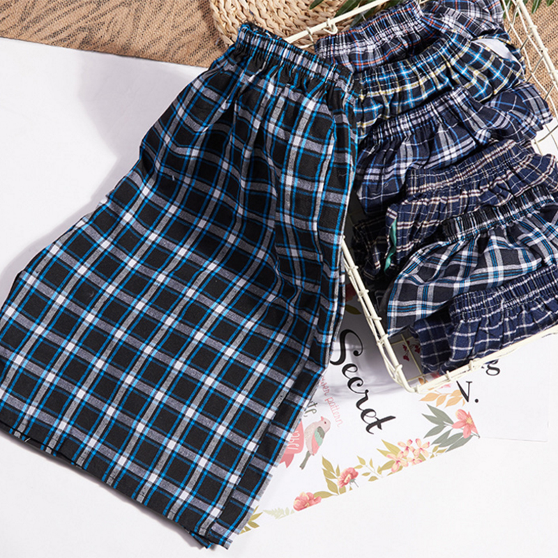 1pcs Cotton Plaid Sleepwear Mens Pajama Men Men's Cotton  Shorts Double Gauze Casual Living Pants Beach Pants