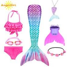 AngelGirl 2020 meninas sereia caudas com monofin biquíni maiô crianças terno para crianças princesa traje de natação terno