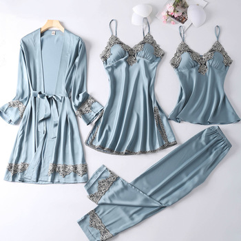 Women Pajamas Sets Autumn Winter Faux Silk Sleepwear Fashion Elegant Sexy Lace 4 Pieces Suit Homewear Nightgown Female