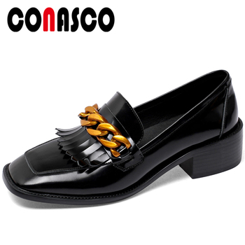 CONASCO New Arrival Women Loafers Patent Leather Casual Shoes Fringe Chain Decoration Shoes Middle Heels Square Toe Shoes Woman