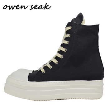 Owen Seak Men Canvas Shoes Luxury Trainers Boots Lace Up Sneakers Casual Women Height Increasing Zip High-TOP Flats Black Shoes