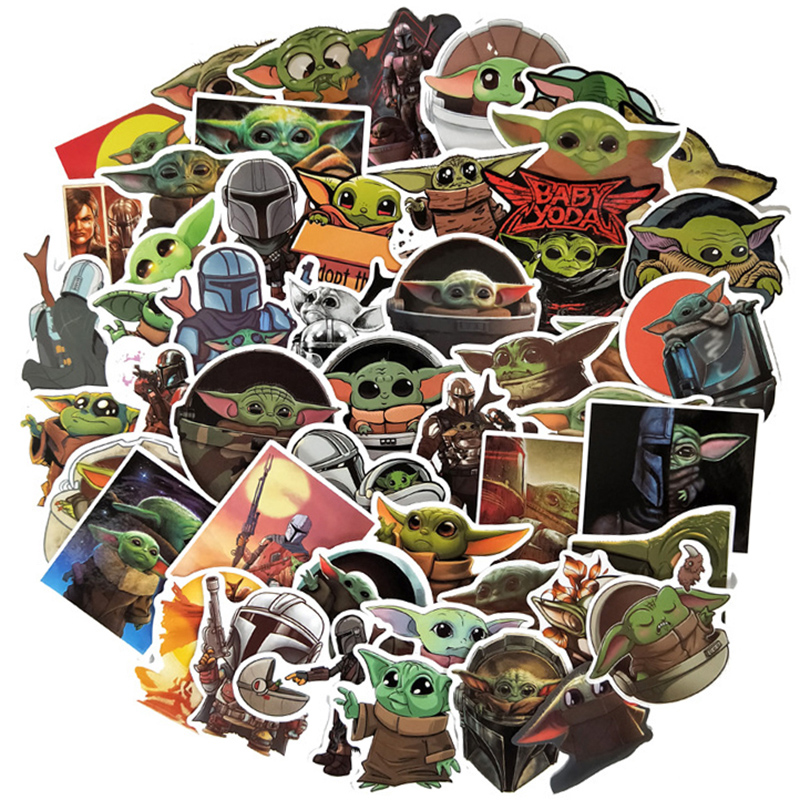 50Pcs The Mandalorian Star Wars Baby Yoda Sticker Scrapbooking Suitcase Decal Skateboard Motorcycle Children Gift Stickers