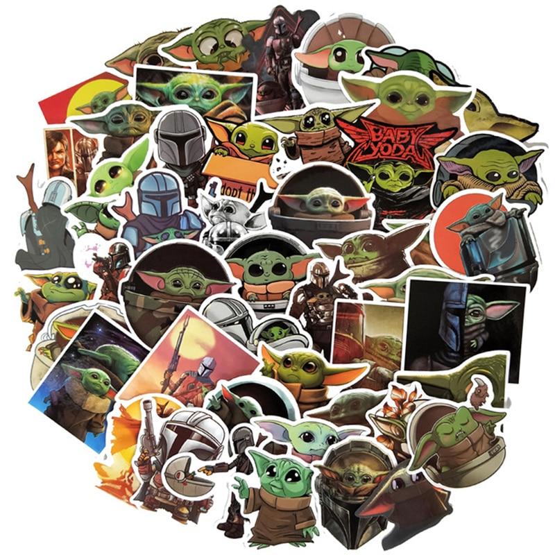 50Pcs The Mandalorian Star Wars Baby Yoda Sticker Scrapbooking Suitcase Decal Skateboard Motorcycle Children Gift Stickers