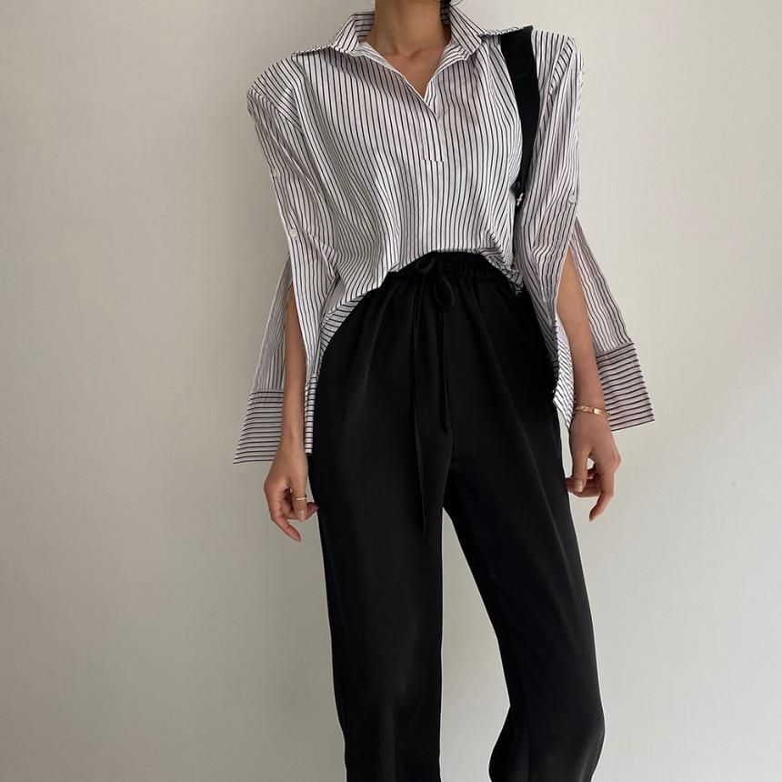 Hf4abe30daa3049a69b0c286dc4d6f485s - Spring / Autumn Turn-Down Collar Long Sleeves Back Slit Loose Striped Blouse