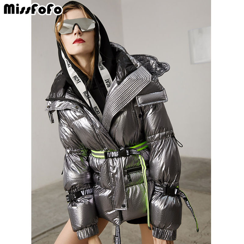 MissFoFo 2019 New Fashion Women's Duck Down Jacket Slim Glossy Very Cool  Waist Silver Black Size S-XL High Quality