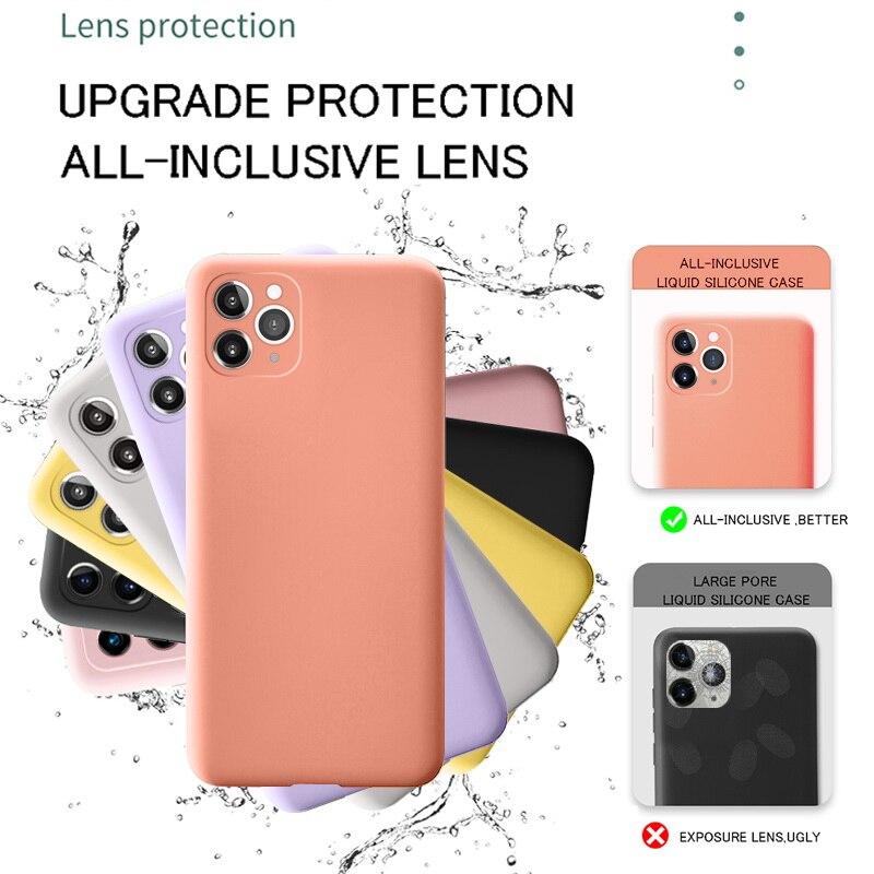 Coque de téléphone en silicone pour iPhone 11 12 Pro SE 2, étui de protection complète, original et chic, souple pour modèles X XR 11 XS Max 7 8 6 6s 5