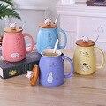Цветная мультяшная молочная кофейная керамическая кружка с крышкой  ложка  чашка с милым котенком  термостойкая чашка  детская чашка с коте...