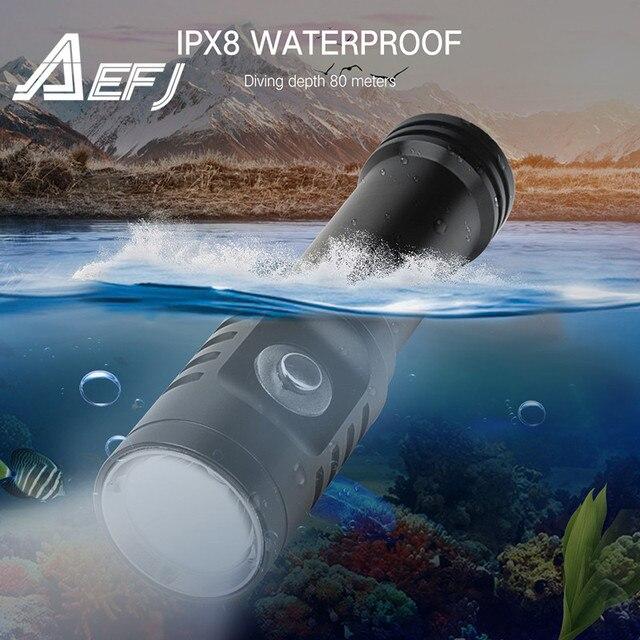 צלילה LED פנס XM L2 עמיד למים IPX8 צלילה מתחת למים 80 מטר 18650 לפיד מנורת אור קמפינג Lanterna