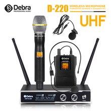 Debra D-220-Sistema con micrófono inalámbrico, amplificador UHF, portátil, y auriculares Lavalier, rango de recepción de 80M PARA Karaoke y reuniones familiares