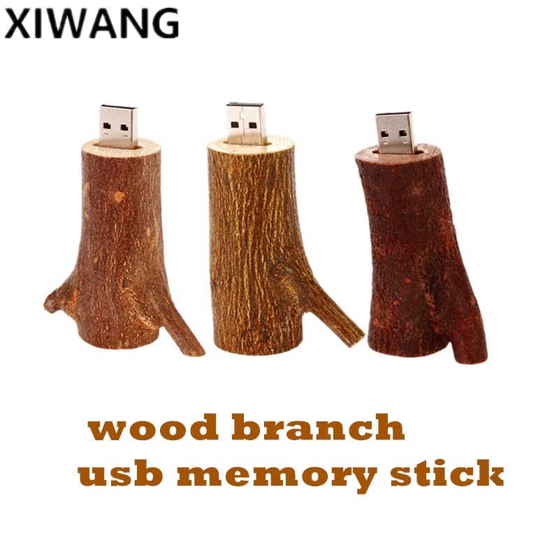 USB flash drive 128gb natural wood branch memory U Disk pendrive 8GB 2.0 pen drive 16GB 32GB 64GB tree branch Best Fashion Gift-in USB Flash Drives from Computer & Office