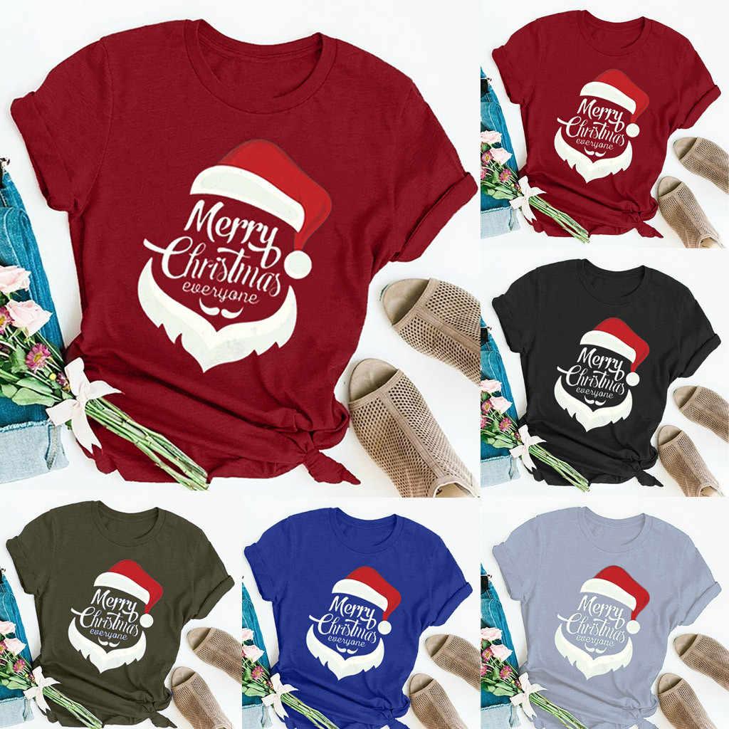 Nowy Tshirt kobiety boże narodzenie list wydrukowano okrągły dekolt koszulka z krótkim rękawem topy Poleras Camiseta Mujer Top kobiety Harajuku T koszula