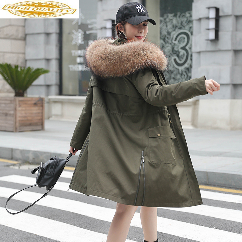 Real Fur Coat Female Natural Rabbit Fur Liner Parka 2020 Winter Jacket Women Raccoon Fur Collar Korean Long Coats MY3678
