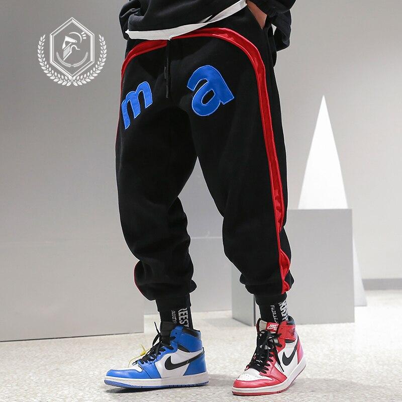 Men Loose Embroidery Cargo Jogger Harem Pants Sport Patchwork Ankle-Length Hip Hop Pants