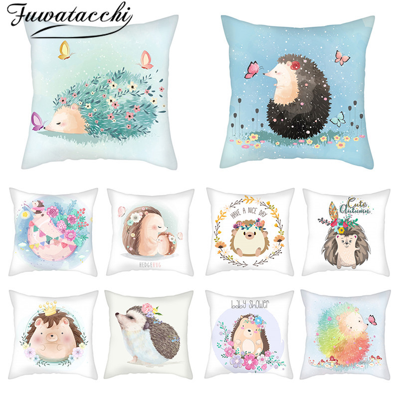 Fuwatacchi Cartoon Hedgehog Pillow Case Animal Pattern Cushion Cover Flower Printed Throw Pillows Cover For Home Sofa Decoration