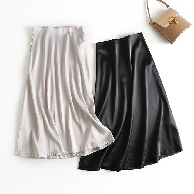 2019 Spring Summer Women High Waist Satin Skirt Metallic Color Long Skirt Shiny Silk Imitation Midi Skirt Silver Black 3