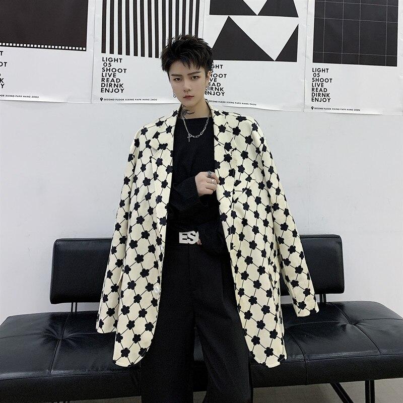 2020 New Men Flower Printing Casual Loose Suit Coat Outerwear Male Japan Street Vintage Blazer Jacket Overcoat