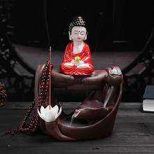 Smoke Waterfall Backflow Incense Burner Holder Buddha Lotus Small Hand Ceramic Censer Creative Home Decor