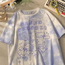 100% Cotton Cute Bear Tshirt Streetwear Summer Oversize T Shirt Women Harajuku Short Sleeves Tops Tee Hip Hop Tie Dyed Tshirt