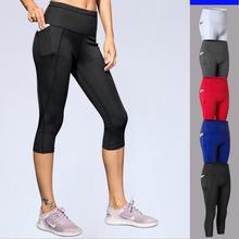 Yuerlian New Womens Yoga Cropped Pants Pockets Fitness Running High Waist Quick-drying Stretch Tights