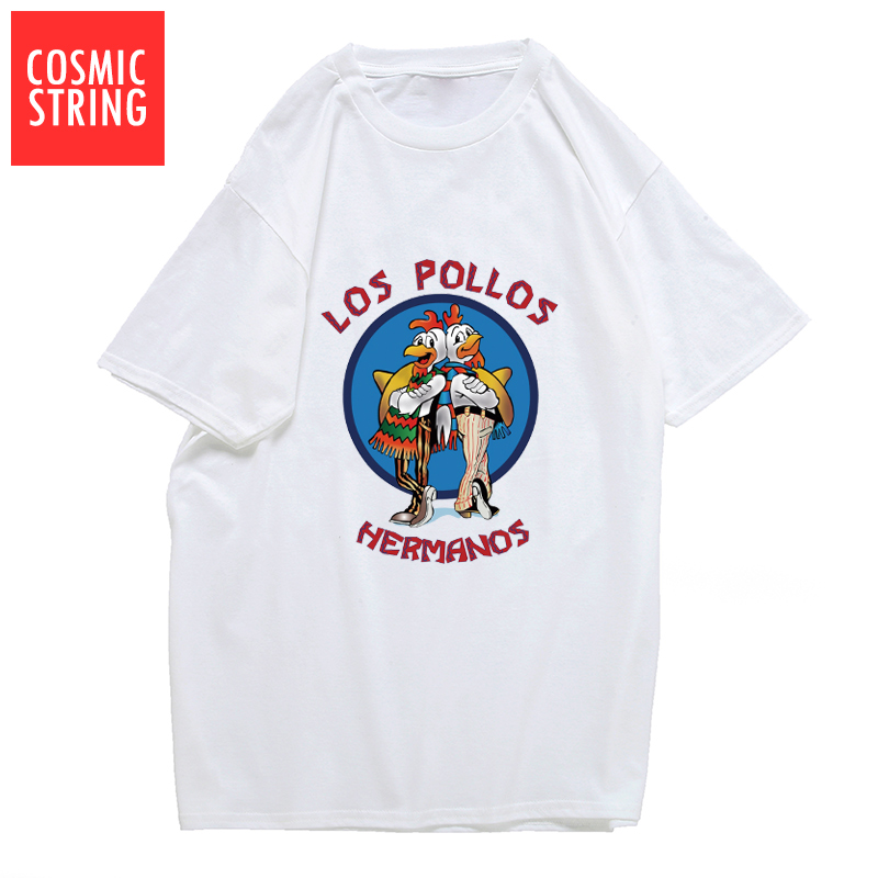 COSMIC STRING Men's Fashion Breaking Bad T Shirt LOS POLLOS Hermanos TShirt Chicken Brothers Short Sleeve Tee Hipster Tops