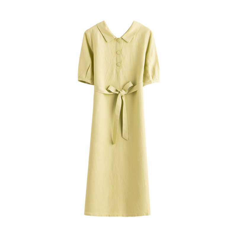 INMAN 2020 여름 새로운 도착 짧은 소매 bowknot는 Collor 순수하고 신선한 a 라인 드레스를 거절