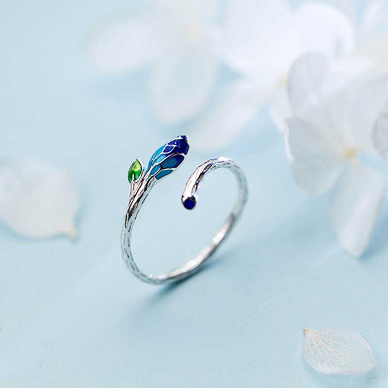 Trusta 100% 925 אמיתי סטרלינג תכשיטי כסף כחול עלה סניף טבעת פתיחת אצבע מתכוונן טבעות עבור Teen ילדה נשים DS990
