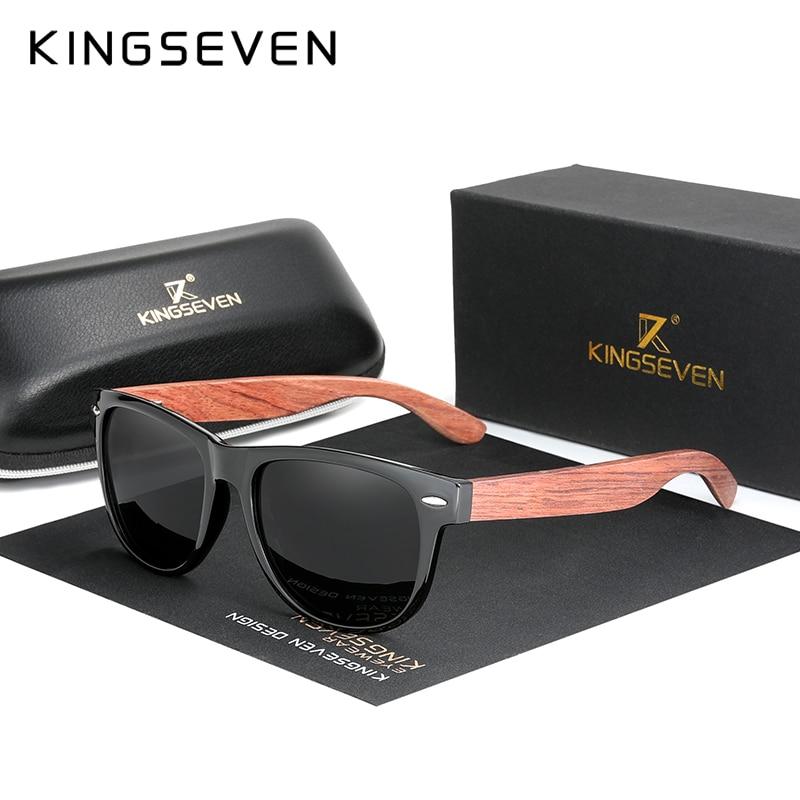 KINGSEVEN New Black Walnut Sunglasses Wood Polarized Men Sun Glasses Men UV400 Protection Eyewear Wooden Original Accessorie