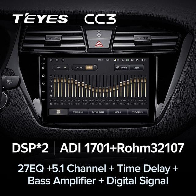 TEYES CC3 Штатная магнитола For Хендай Ай 20 GB For Hyundai i20 2 II GB 2014 - 2018 до 8-ЯДЕР, до 6 + 128ГБ 27EQ + DSP carplay автомагнитола 2 DIN DVD GPS android 10 мультимедиа автомобиля головное устройство 4