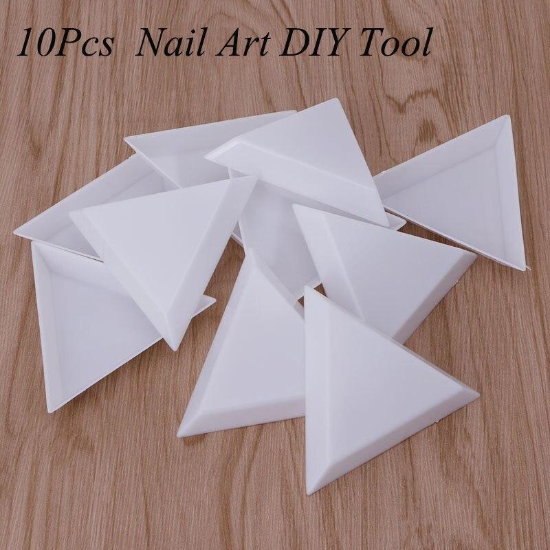 10 pçs diy decoração da arte do prego pontilhar plástico cristal triangular bandeja strass diamante branco prático placa de armazenamento ferramentas manicure