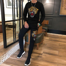 New winter Hot Man's Tracksuits s Men Camouflage O-neck Fashion  Hip-Hop  Men's 2PCS Outfits hot drilling  Clothing Casual Top