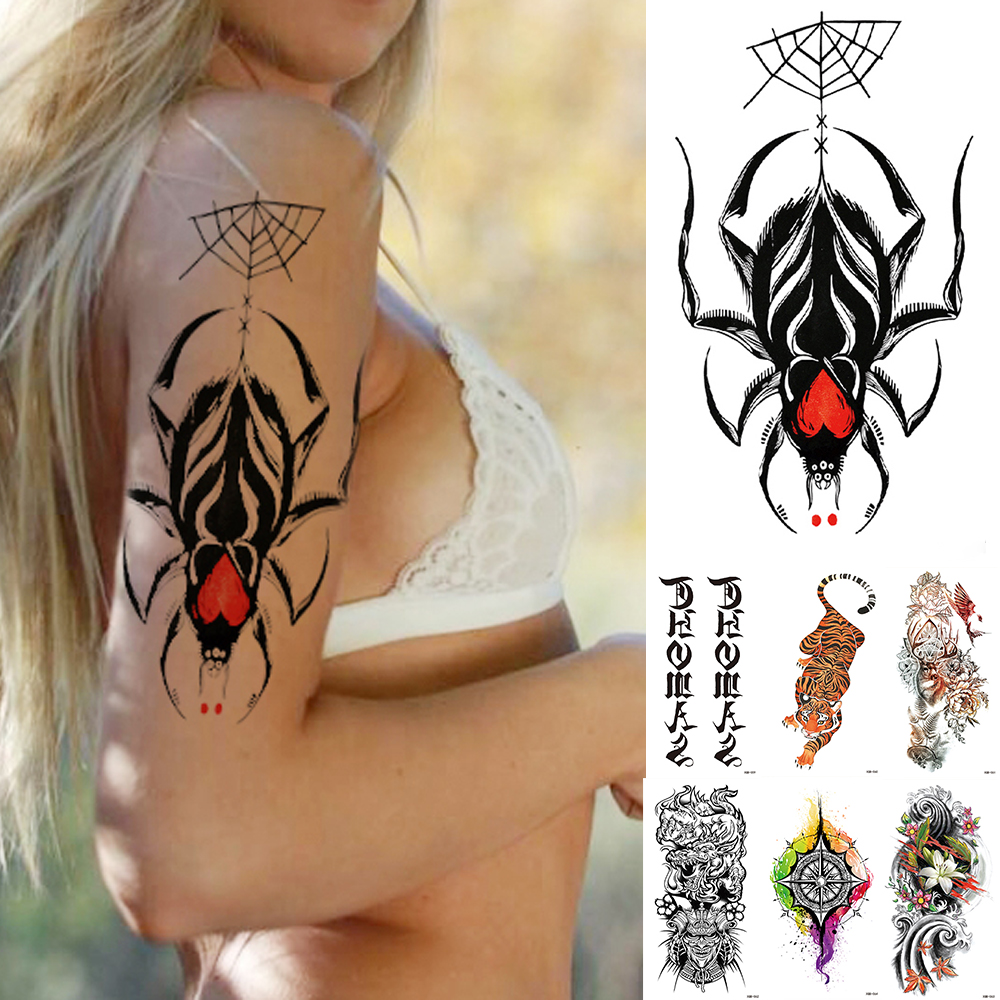 1PCS Waterproof Temporary Tattoo Sticker Red Heart Spider Flash Tattoos Sanskrit Tiger Flower Body Art Arm Fake Tatoo Women Men