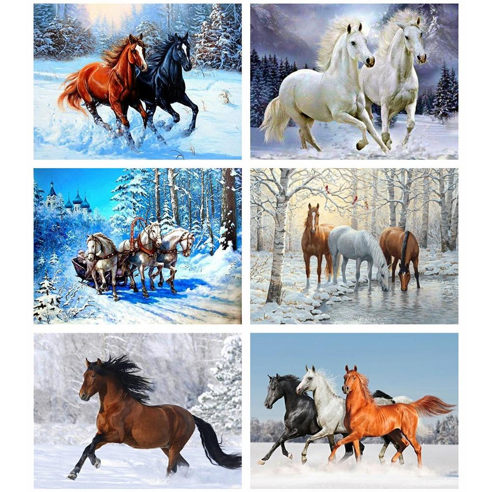 5D TEEMANDITIKAND / TEEMANTMAAL (MOSAIIK) komplekt – tee ise.  6 erinevat talvist hobu-ja ratsapilti. Suuruste valik.