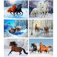 Evershine 5D Diamond Painting Horse Cross Stitch Animals Mosaic Embroidery Full Set Winter Rhinestone Pictures Decoration Home