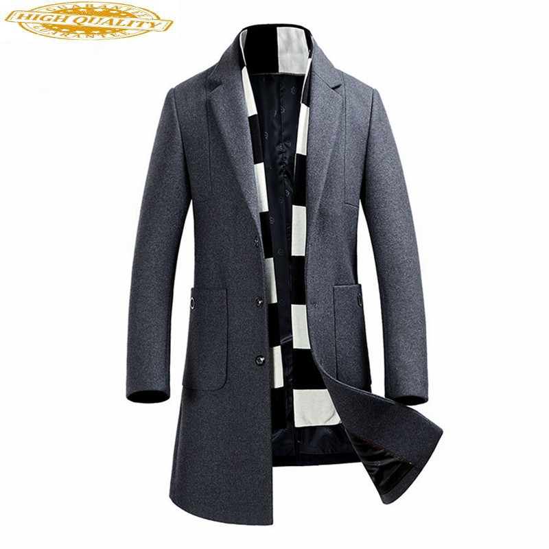 2020 Fashion Mens Wool Coat Men's Autumn Winter Coat Long Winter Jacket Men Warm Padded Overcoat Abrigo Hombre WXF467