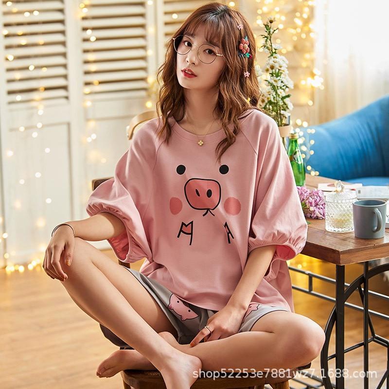JULY'S SONG Thin Cartoon Printed Short Sleeve Sleepwear Women Pajamas Set Spring Summer New Cute Casual Homewear Female Pyjamas