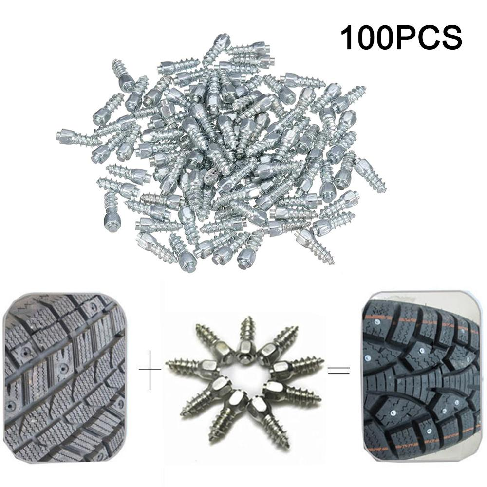 100PCS 12 mm Carbide Screw Tire Studs Snow Spikes Anti-Slip Anti-ice for Car SUV ATV UTV with Installation Tool
