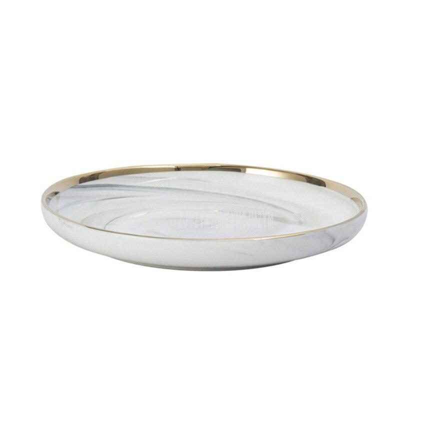 Assiette à Steak en céramique | Modèle de marbre, 8 pouces assiette bord or Style nordique de l'europe assiette à Dessert ronde ménagère 10 pièces/ensemble