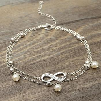 Infinity Anklet,Personalized Infinity Name Anklet,Engraved Anklet,Name Plate Anklet,Custom Ankle Name Bracelet,Gift for Her vintage engraved floral anklet for women