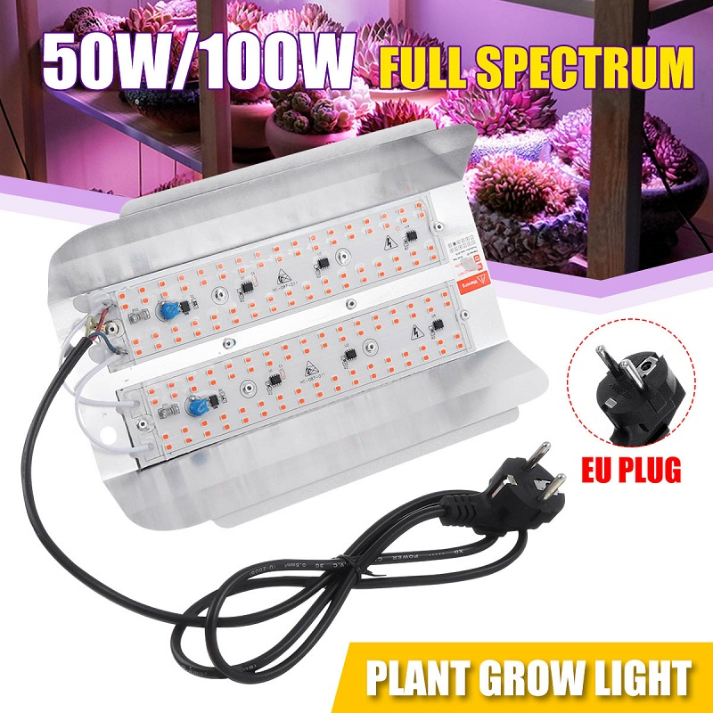 50W 100W LED Grow Light With EU Plug Full Spectrum High Power LED Phyto Flood Lights Hydroponic Seeding 220V IP65 Waterproof