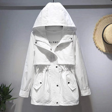 2020 new Spring Autumn Trench Coat Korean Women's Hooded loose waist white Tooli