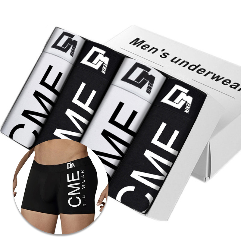 4 pièces/lot Ins Style coton sous-vêtements hommes Boxer Homme solide séchage rapide hommes Boxer Shorts hommes sous-vêtements boxeurs pour hommes CM212