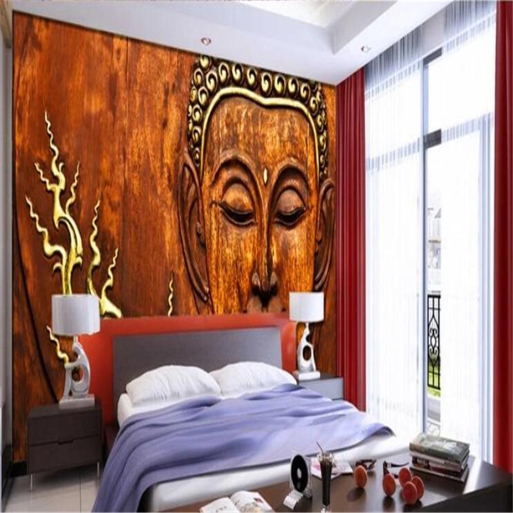 Milofi custom 3D HD Buddha statue wood carving wallpaper mural photo background wall