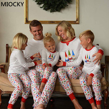 Christmas Family Pajamas Set Clothes Parent-child Suit Home Sleepwear Baby Kid Dad Mom Matching Outfits E0288