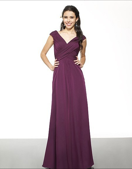 Free Shipping Formal Dresses Chiffon A-line V-neck V-back Inverted Basque Sleeveless Country Style Bridesmaid Dresses