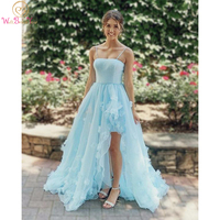 Blue Tulle Long A line Prom Dress Evening Gown Short Front Long Back Spaghetti Strap Floral Elegant Women's Formal Dresses