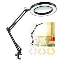 2021 Foldable Flexible Desk Large 8X USB LED Magnifying Glass 3 Colors Illuminated Magnifier Lamp Loupe Reading/Rework/Soldering