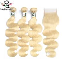 פנדה 613 בלונד חבילות עם סגירה ברזילאי רמי שיער טבעי Weave חבילות דבש בלונד גוף גל 3 חבילות עם סגירת תחרה