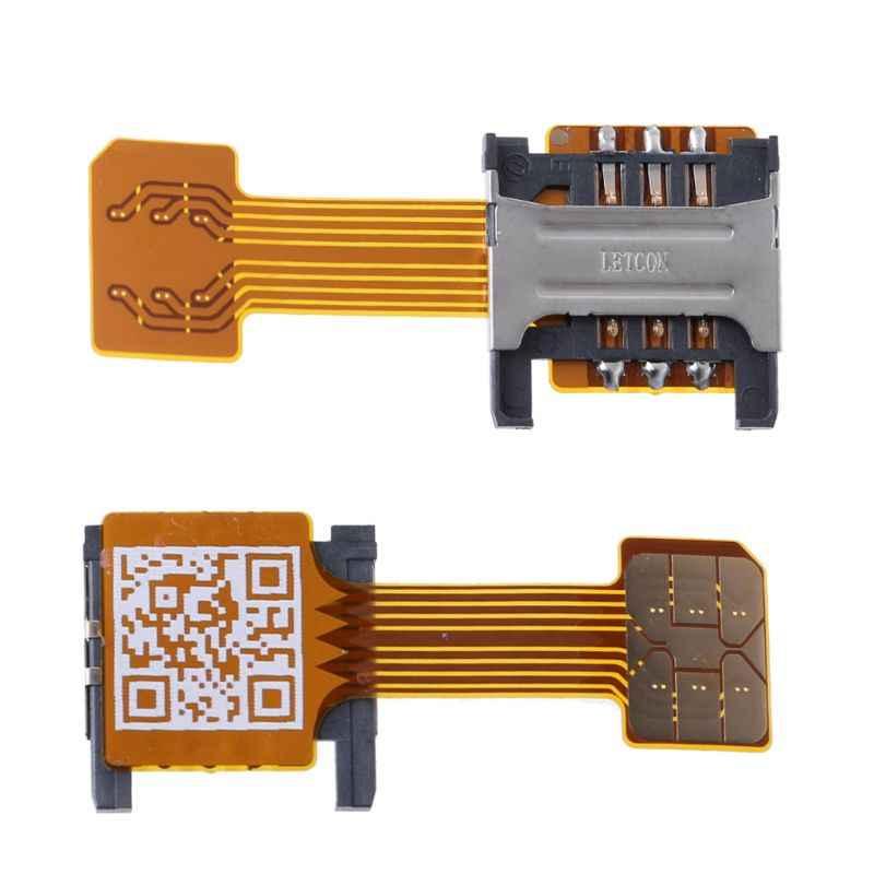 Hybrid Double Dual SIM Kartu Micro SD Adapter untuk Ponsel Android Extender Nano MIC E5BA