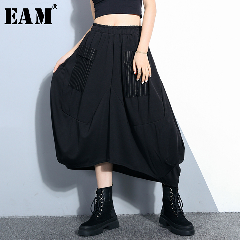 [EAM] 2020 New Spring Summer High Elastic Waist Black Loose Sttriped Split Joint Loose Half-body Skirt Women Fashion Tide JQ183