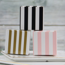10pcs/lot Stripe Square Gift box for Candy Gift Packing Luxury Party Decoration Favor box